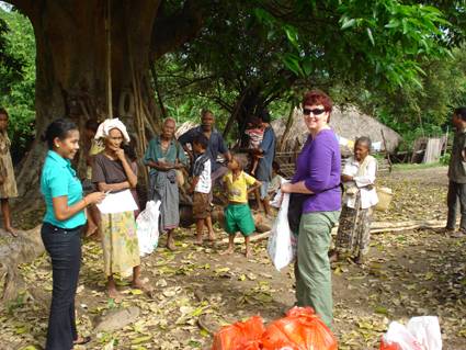 Managing Director Carolyn Evans hard at work in Sidara, Timor Leste